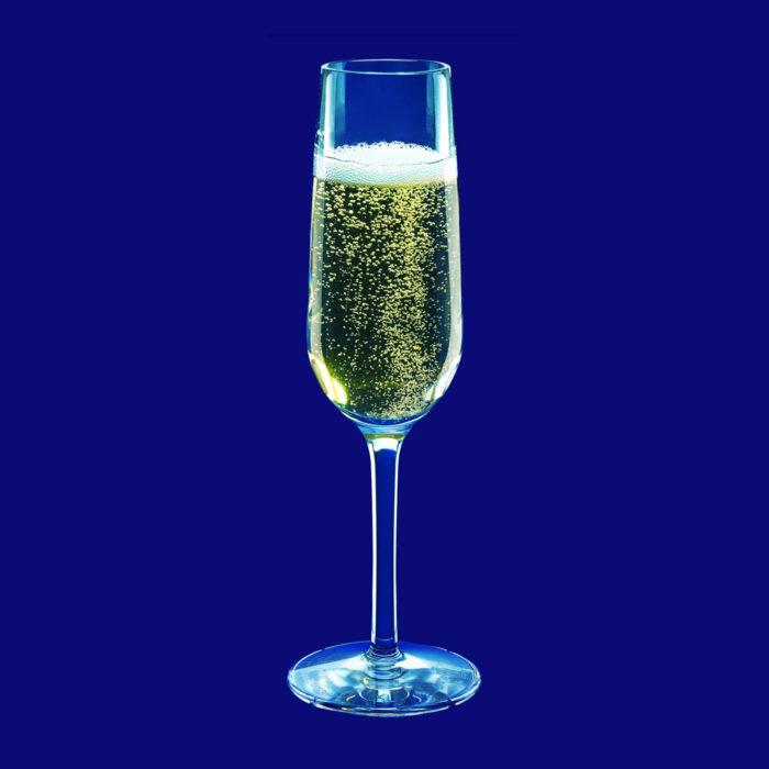 Återanvändbart champagneglas 0,1l SAN Kristallklart